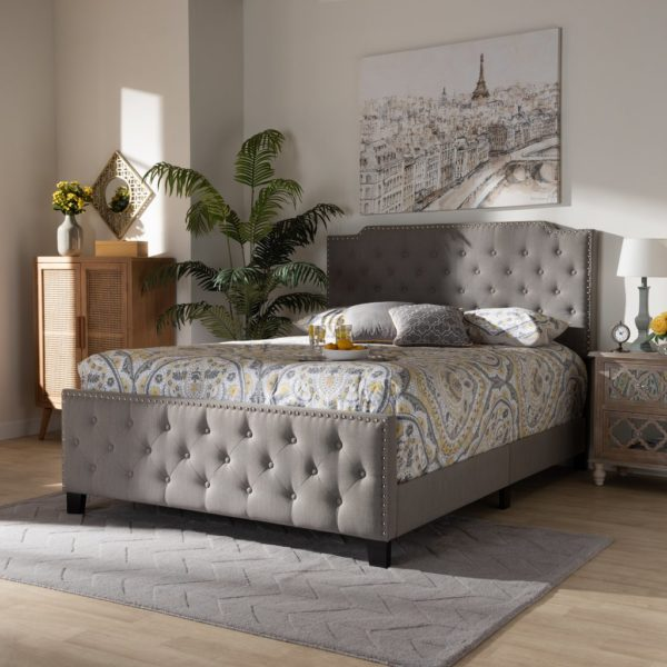 button tufted bed